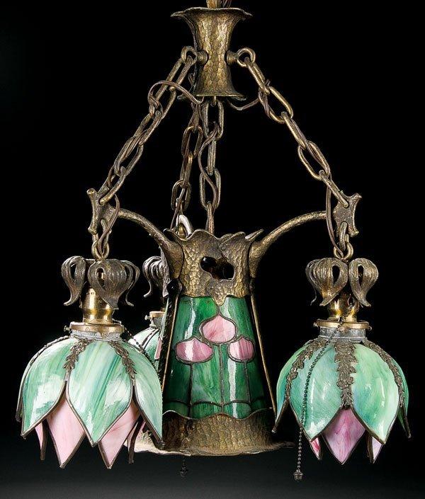 451: Lighting, Handel glass chandelier