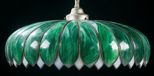 454: Lighting, attributed to Handel glass chandelier
