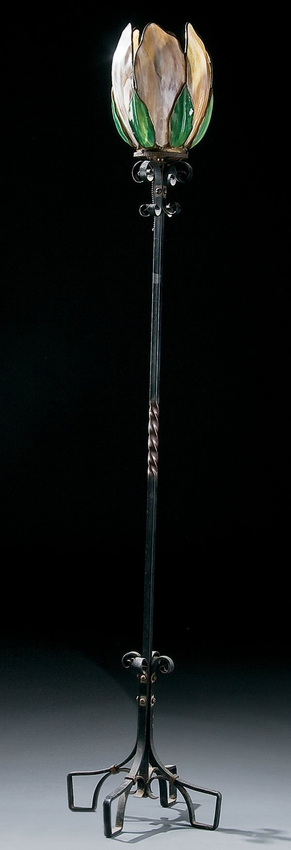 455: Lighting, attr. to Handel glass torcheire lamp