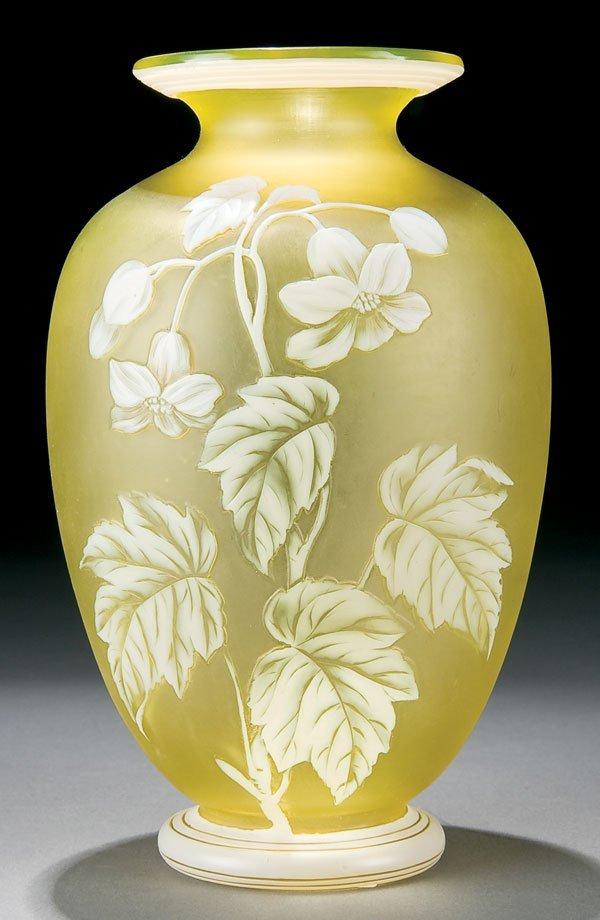 457: English cameo glass vase