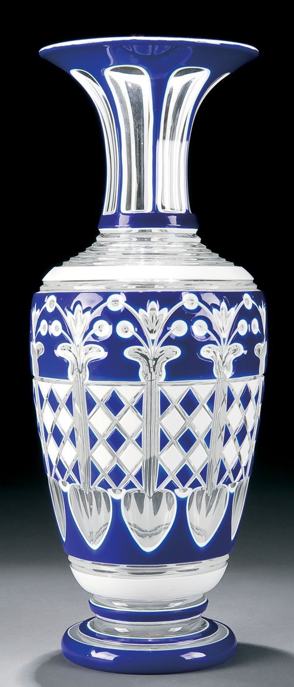 458: Cased and cut back glass vase