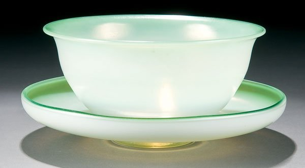 461: Tiffany glass Favrile bowl and underplate