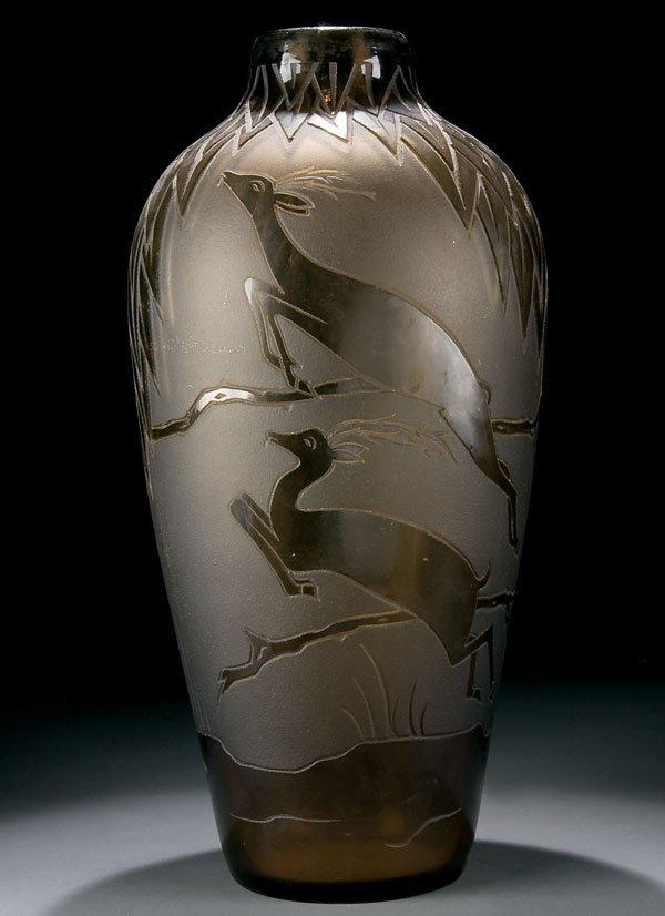 467: French Art Deco cameo glass floor vase