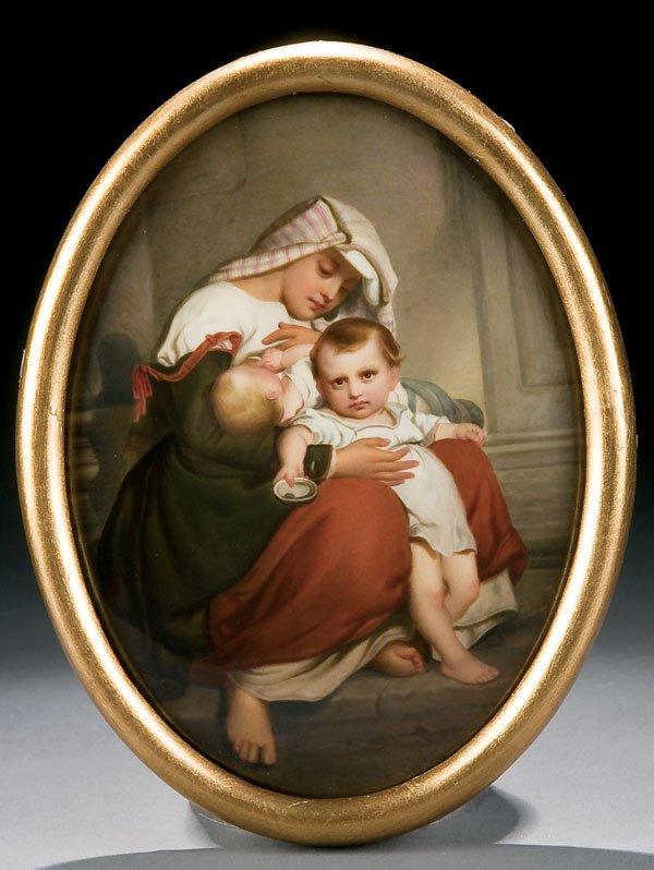 471: KPM porcelain plaque of mother and children