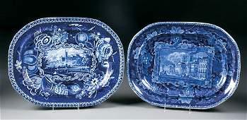 612: 2 Historical Staffordshire Blue Transfer Platters