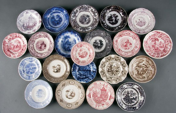622: Staffordshire Transferware Cup & Toddy Plates