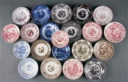 622 Staffordshire Transferware Cup  Toddy Plates