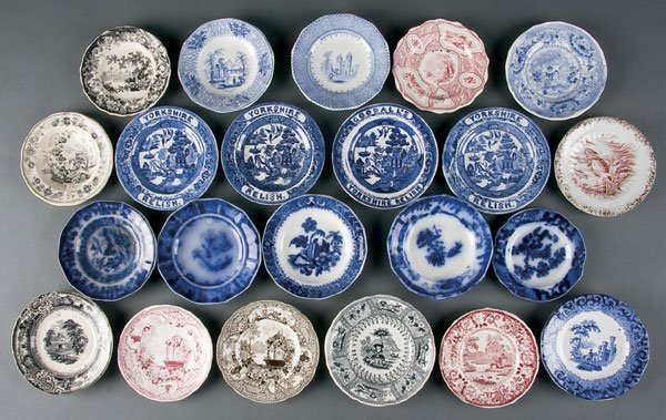 624: Staffordshire Transferware Cup & Toddy Plates