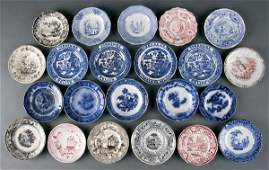 624 Staffordshire Transferware Cup  Toddy Plates