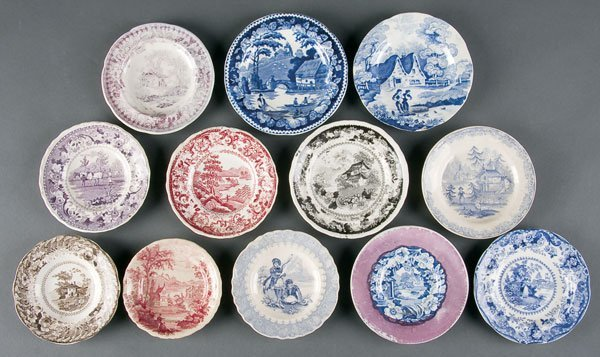 625: Staffordshire Transferware Cup & Toddy Plates