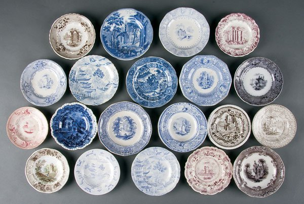626: Staffordshire Transferware Cup & Toddy Plates