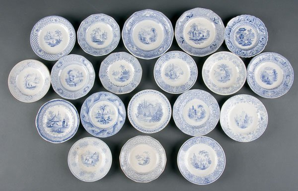 627: Staffordshire Transferware Cup & Toddy Plates