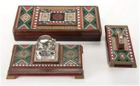 792: Russian silver and enamel desk set