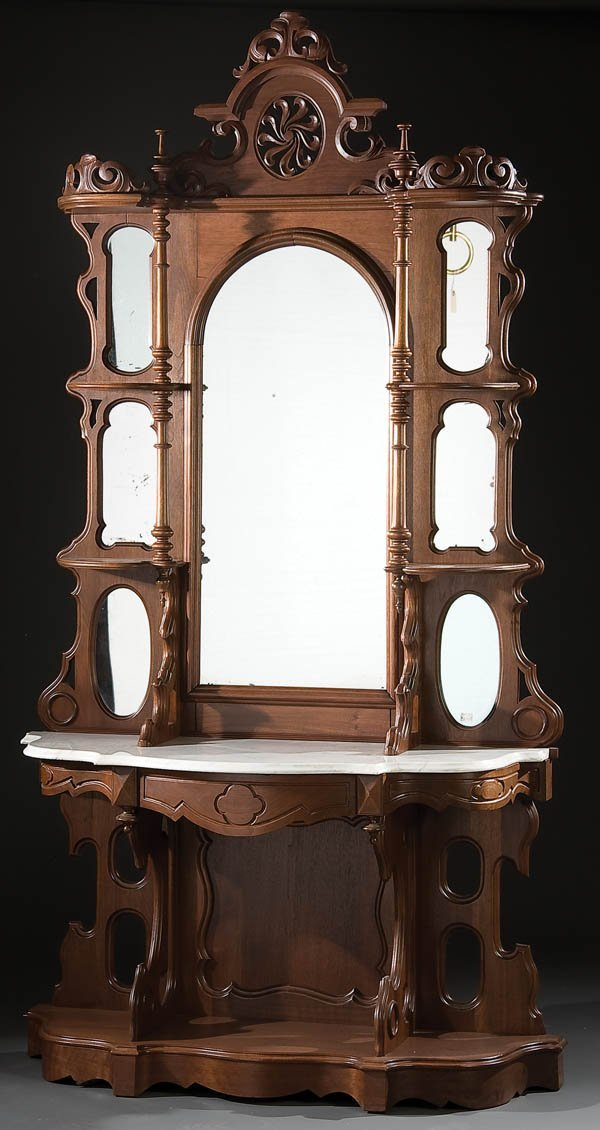 1: VICTORIAN WALNUT HALL MIRROR