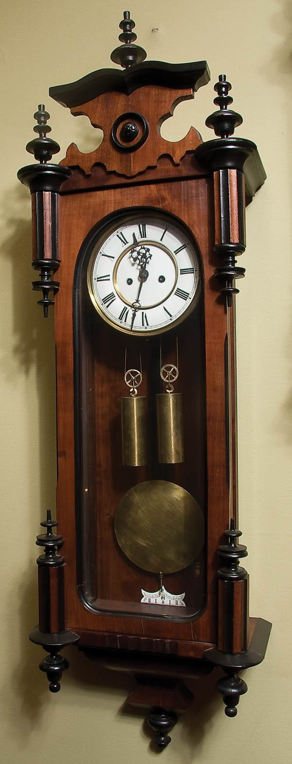 7: CARVED WALNUT AND EBONIZED VIENNA REGULATOR CLOCK