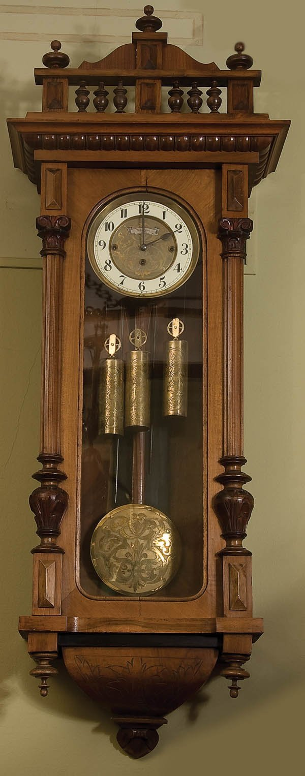 9: JOSEPH KEIN  WALNUT VIENNA REGULATOR CLOCK