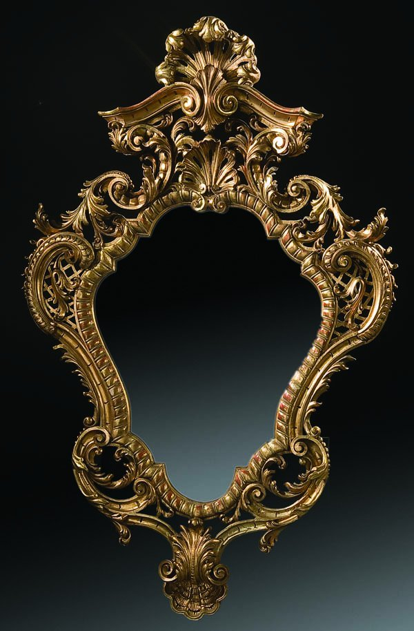 10: ITALIANATE CARVED AND GILT WOOD  WALL MIRROR