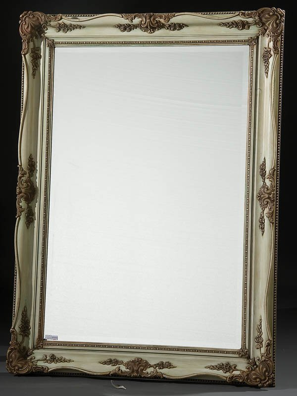 20: VICTORIAN CREAM PAINTED BEVELED GLASS MIRROR