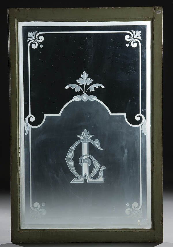 337: 3 FRENCH ETCHED GLASS WINDOW PANELS