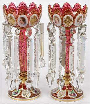 PR OF LARGE RUBY CASED GLASS LUSTERS