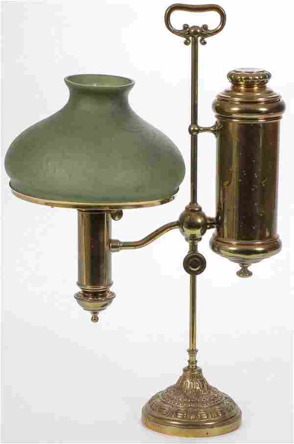 VINTAGE STUDENT LAMP WITH HANDEL SHADE