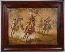 LARGE ORIGINAL INDIAN WARRIOR PAINTING