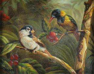 ORIGINAL OIL PAINTING OF EXOTIC BIRDS