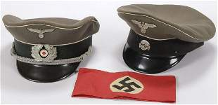 TWO GERMAN WWII STYLE CAPS