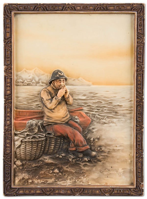 1: NIPPON FISHERMAN PORCELAIN PLAQUE