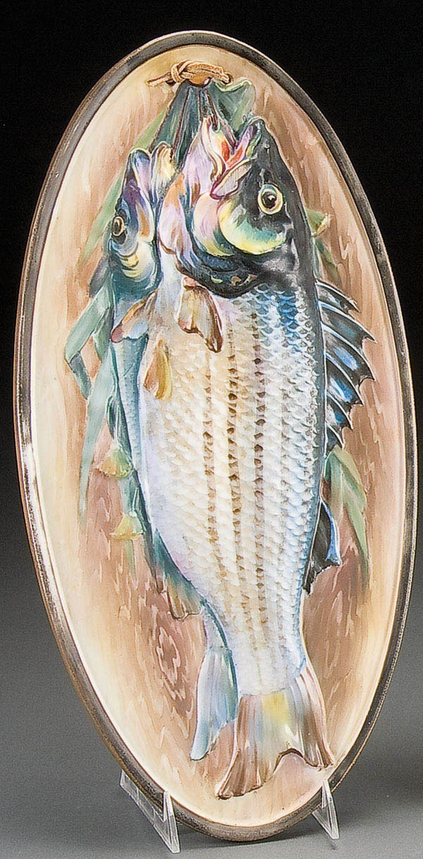 2: NIPPON PORCELAIN FISH GAME PLAQUE