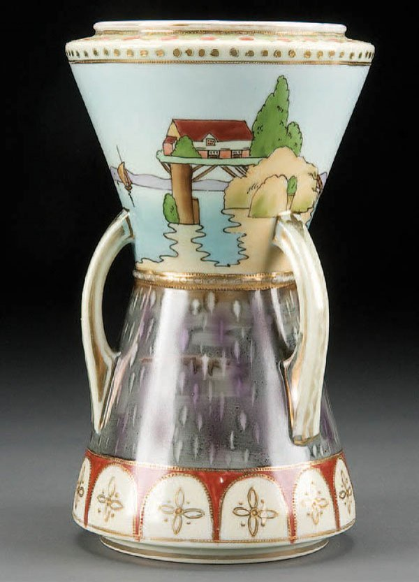 19: A HAND PAINTED NIPPON SCENIC 3-HANDLED VASE early