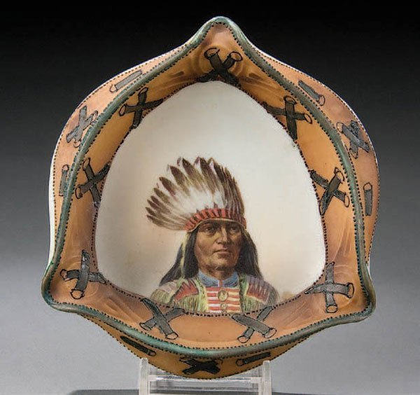 22: A HAND PAINTED NIPPON INDIAN ASHTRAY circa 1900 w