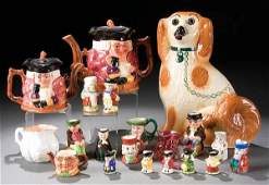 387: A MINIATURE TOBY JUG AND STAFFORDSHIRE POTTERY GR