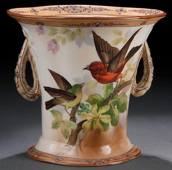 21B: A NIPPON RED BIRD ON BRANCH TWO-HANDLED VASE early