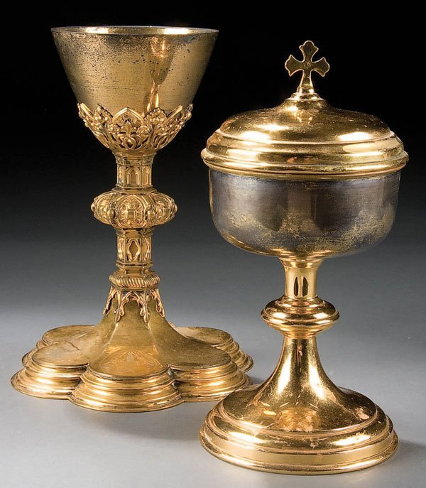 755: A STERLING & GILT METAL GOTHIC STYLE CHALICE 19th