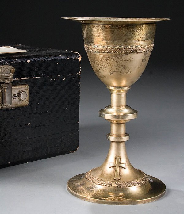 756: A CASED STERLING SILVER CHALICE AND PATEN the bas