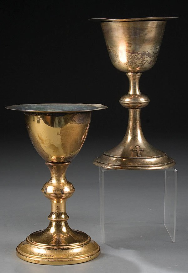 759: A PAIR OF CASED CHALICES including a sterling sil