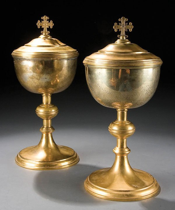 760: A PAIR OF LARGE STERLING AND GILT-BRASS CIBORIA,