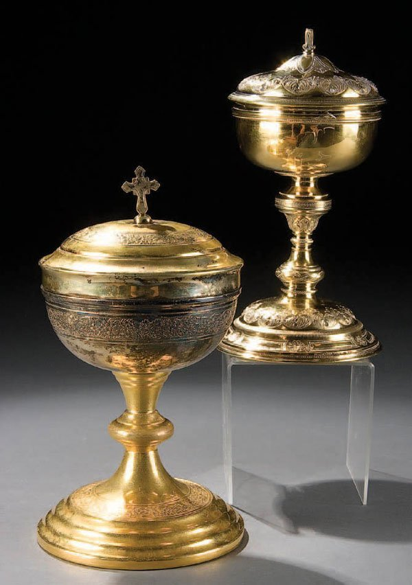 762: A PAIR OF GILDED BRASS AND STERLING CIBORIA, circ