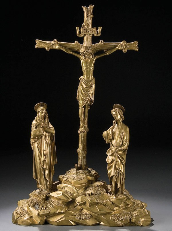 764: A BRONZE OR BRASS CAST CRUCIFIXION GROUPING Conti