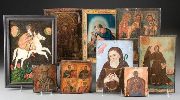767: ICONS AND RETABLO, a group of 9 images, the oldes