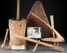 1390C: A GROUP OF PRIMITIVE HAND TOOLS including a corn