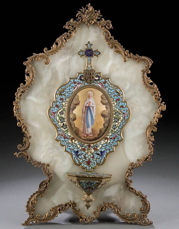 138: FRENCH GILT BRONZE & CHAMPLEVE ENAMEL HOLY WATER