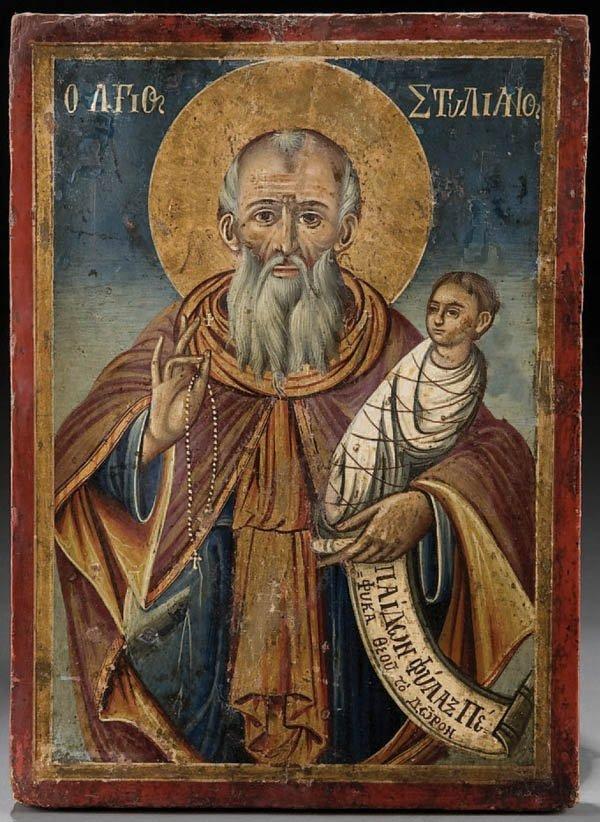297: A GREEK ICON: Saint Stylianos, 19th century. A 7t