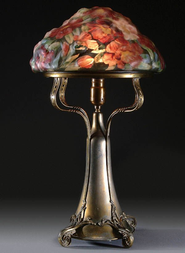 "1: A VERY FINE PAIRPOINT PUFFY ""AZALEA"" TABLE LAMP,"