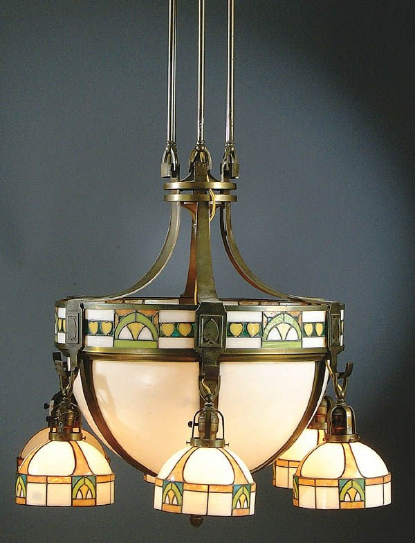 9: A LARGE AND IMPRESSIVE LEADED GLASS AND BRONZE HA