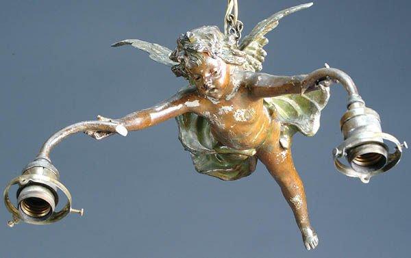 18: AN ART NOUVEAU FIGURAL LAMP C. 1890 of a winged c