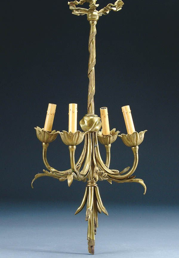 19: A 19TH CENTURY FRENCH BRONZE HANGING LAMP with 4