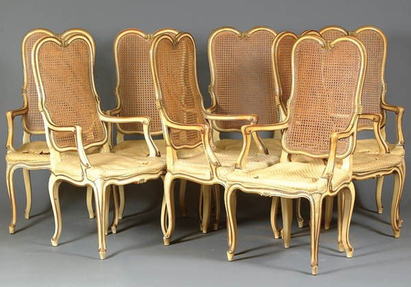 914: A SET OF EIGHT KARGAS FRENCH PROVINCIAL STYLE ARM