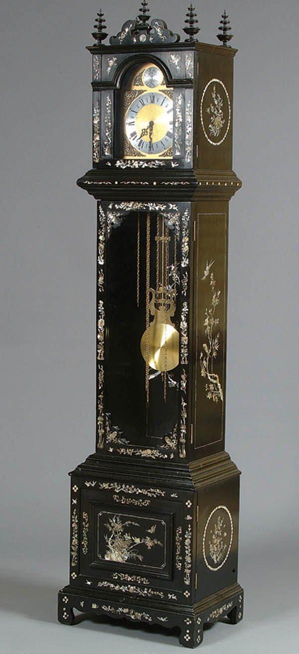 965: AN ORIENTAL CASED TALL CLOCK mid 20th century, bl